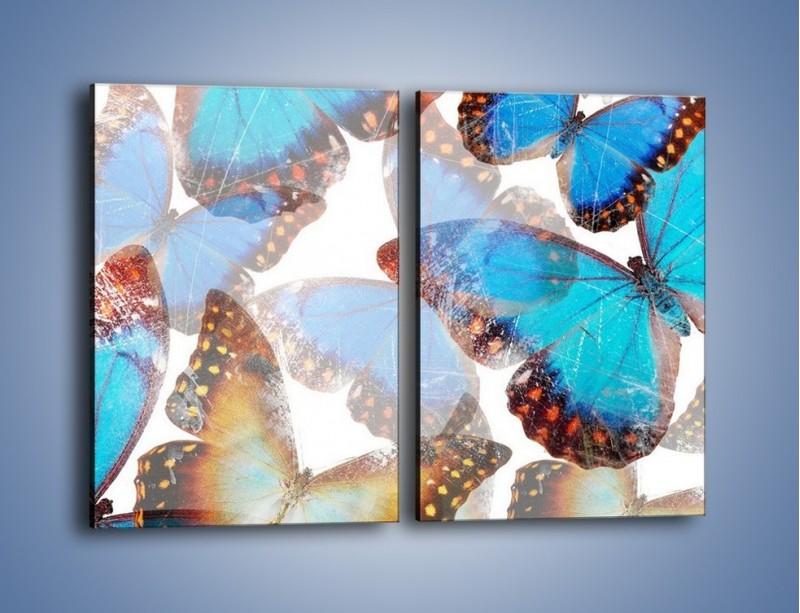 Obraz na płótnie – Motyl w niebieskim kolorze – dwuczęściowy prostokątny pionowy GR403