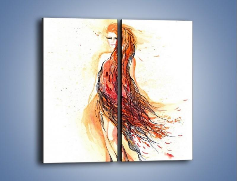 Obraz na płótnie – Suknia z włosów – dwuczęściowy prostokątny pionowy GR445