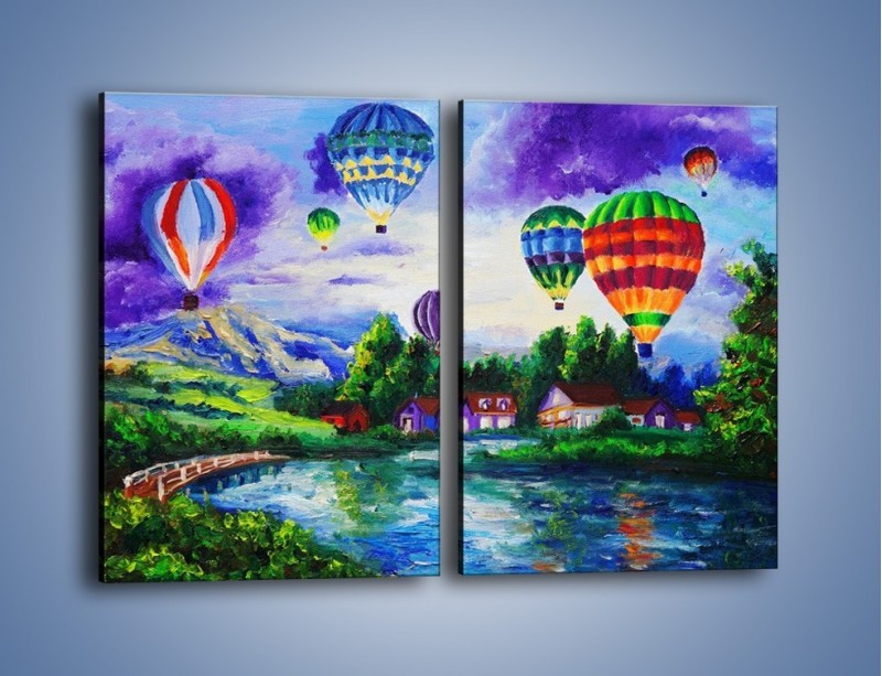 Obraz na płótnie – Lot kolorowym balonem – dwuczęściowy prostokątny pionowy GR482