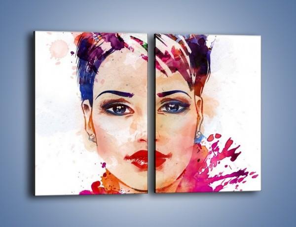 Obraz na płótnie – Piękna kobieta w kolorze – dwuczęściowy prostokątny pionowy GR499