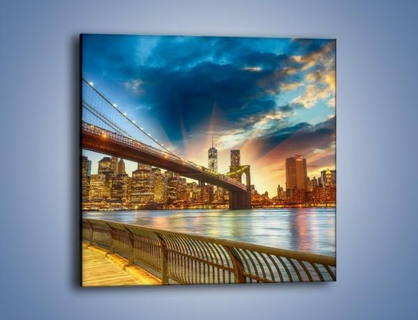 Obraz na płótnie – Most w Nowym Jorku o zmierzchu – jednoczęściowy kwadratowy AM754