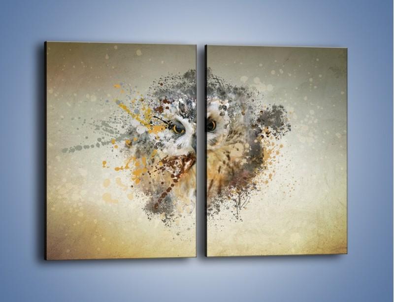 Obraz na płótnie – Czujne spojrzenie sowy – dwuczęściowy prostokątny pionowy GR592