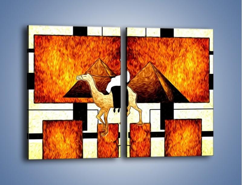 Obraz na płótnie – Wędrówka na wielbłądzie – dwuczęściowy prostokątny pionowy GR593