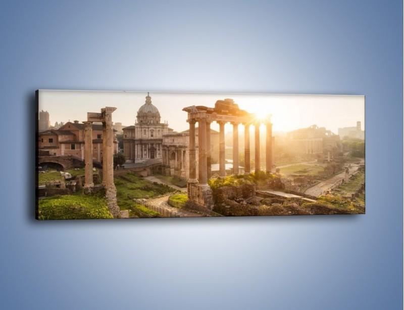 Obraz na płótnie – Rzymskie ruiny o zachodzie słońca – jednoczęściowy panoramiczny AM480