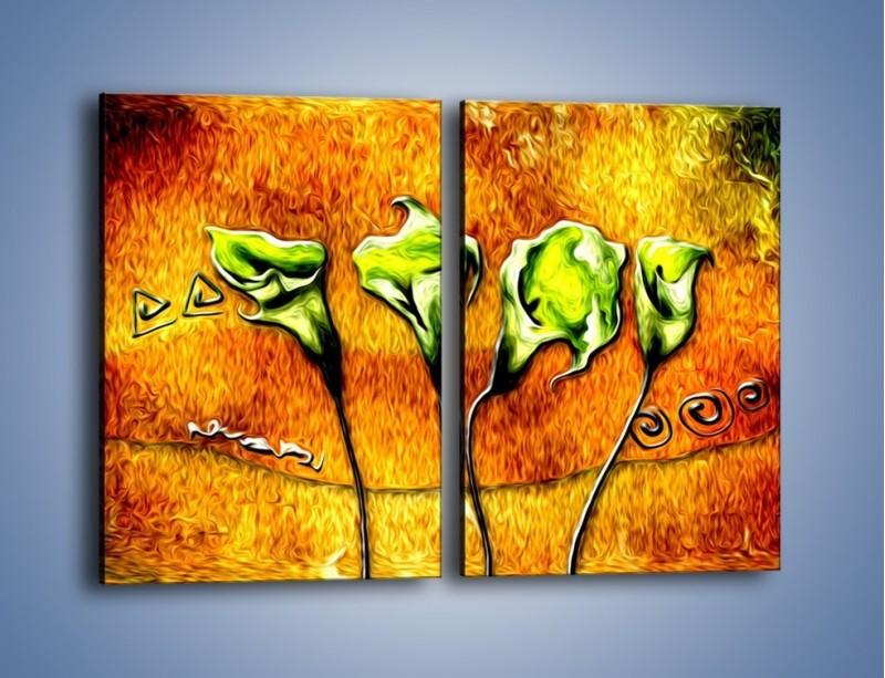 Obraz na płótnie – Zielone kalie w ogniu – dwuczęściowy prostokątny pionowy GR635