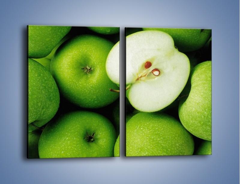 Obraz na płótnie – Zielone jabłuszka – dwuczęściowy prostokątny pionowy JN039