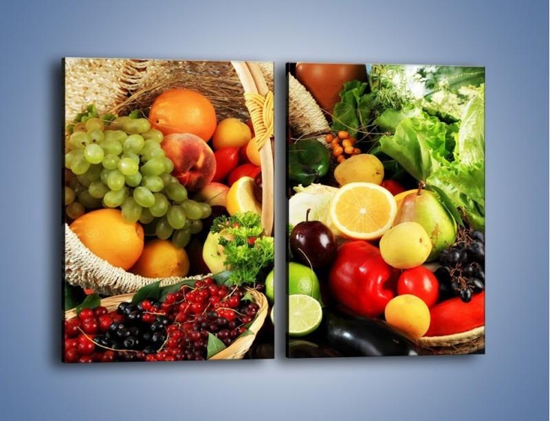 Obraz na płótnie – Kosz pełen owocowo-warzywnego zdrowia – dwuczęściowy prostokątny pionowy JN059