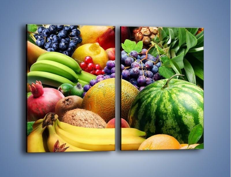 Obraz na płótnie – Stół pełen dojrzałych owoców – dwuczęściowy prostokątny pionowy JN072