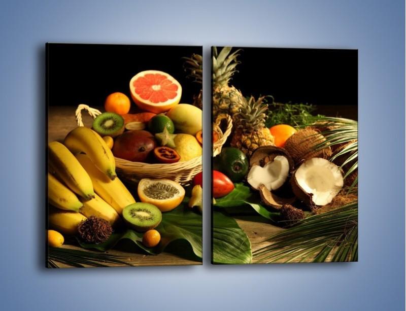 Obraz na płótnie – Kosz egzotycznych owoców – dwuczęściowy prostokątny pionowy JN074