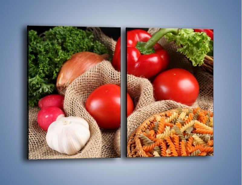 Obraz na płótnie – Makaron z warzywami – dwuczęściowy prostokątny pionowy JN076