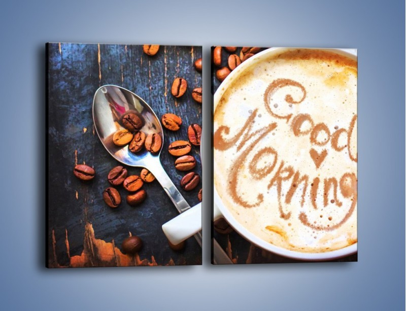 Obraz na płótnie – Kawa na miły początek dnia – dwuczęściowy prostokątny pionowy JN180