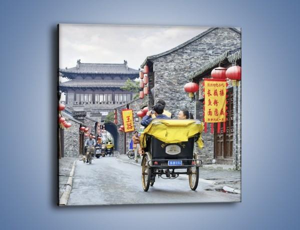 Obraz na płótnie – Podróż rikszą w mieście Zhangjiakou – jednoczęściowy kwadratowy AM762