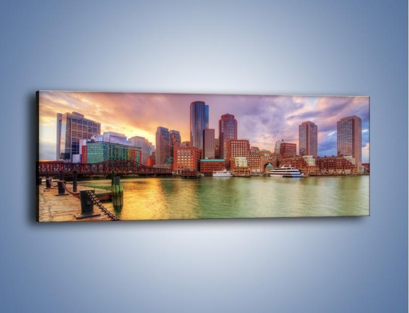 Obraz na płótnie – Widok na centrum Bostonu – jednoczęściowy panoramiczny AM486
