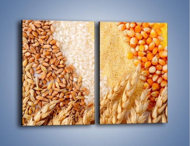 Obraz na płótnie – Ziarna pszenno-zbożowe – dwuczęściowy prostokątny pionowy JN207