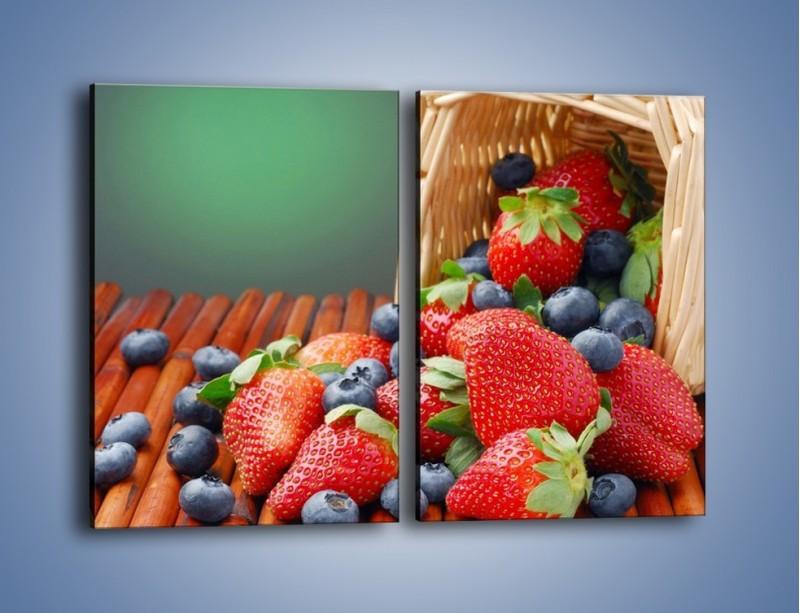 Obraz na płótnie – Truskawkowo-jagodowy obłęd – dwuczęściowy prostokątny pionowy JN251