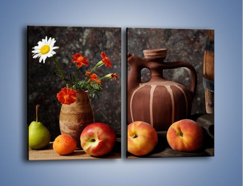 Obraz na płótnie – Kwiaty wśród owoców – dwuczęściowy prostokątny pionowy JN280