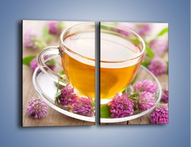 Obraz na płótnie – Herbata z kwiatami – dwuczęściowy prostokątny pionowy JN283