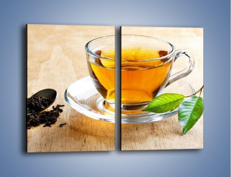 Obraz na płótnie – Listek mięty dla orzeźwienia herbaty – dwuczęściowy prostokątny pionowy JN290