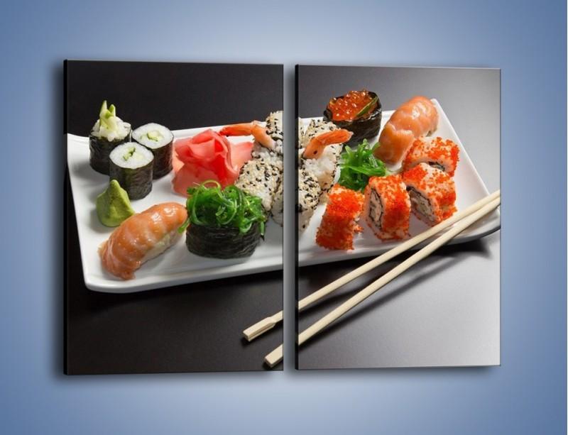 Obraz na płótnie – Kuchnia azjatycka na półmisku – dwuczęściowy prostokątny pionowy JN295