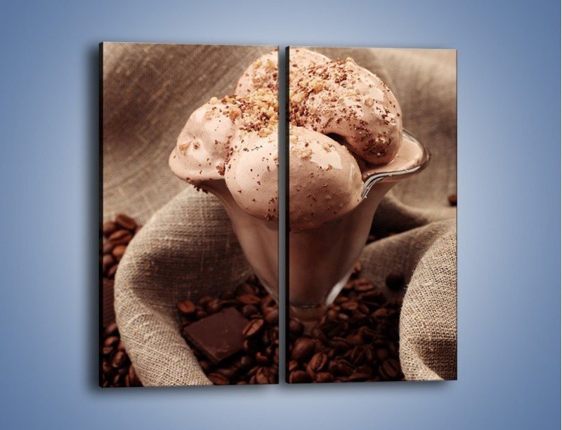 Obraz na płótnie – Deser czekoladowo-kawowy – dwuczęściowy prostokątny pionowy JN339