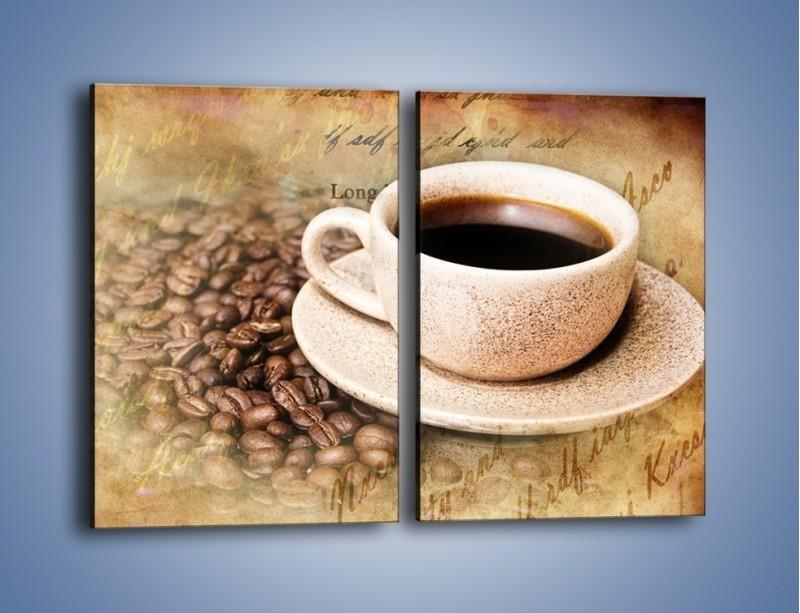 Obraz na płótnie – List przy filiżance kawy – dwuczęściowy prostokątny pionowy JN347