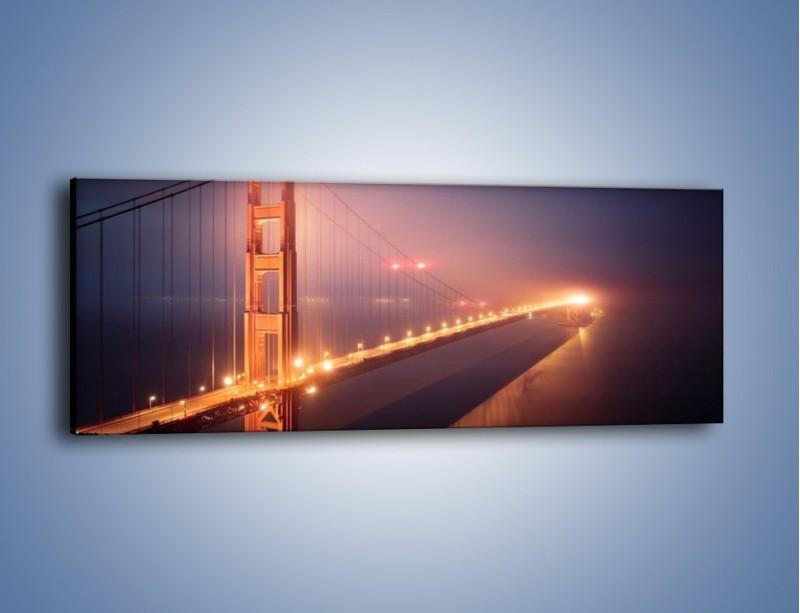 Obraz na płótnie – Most Golden Gate w nocnej mgle – jednoczęściowy panoramiczny AM490