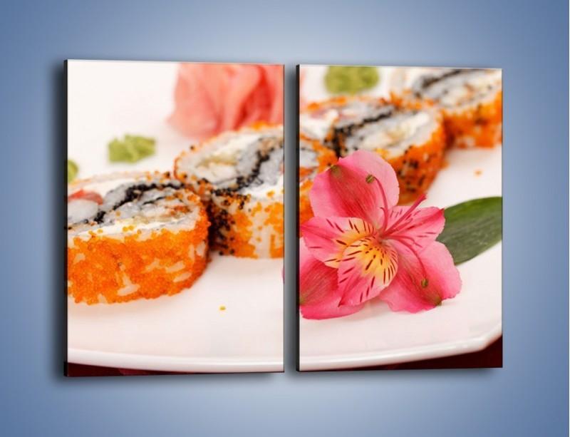 Obraz na płótnie – Sushi z kwiatem – dwuczęściowy prostokątny pionowy JN354