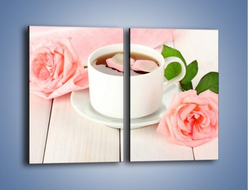 Obraz na płótnie – Herbata wśród róż – dwuczęściowy prostokątny pionowy JN369