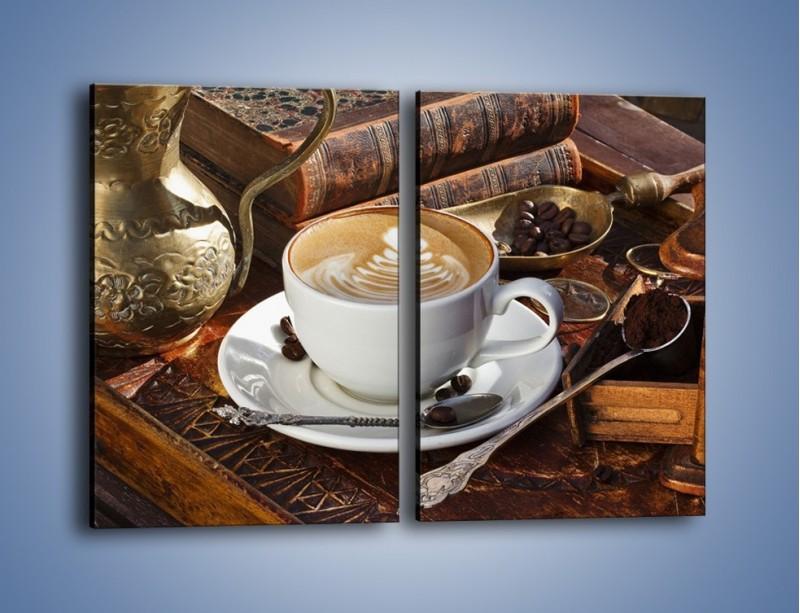 Obraz na płótnie – Wspomnienie przy kawie – dwuczęściowy prostokątny pionowy JN377