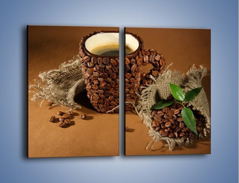 Obraz na płótnie – Kubek z ziarnami kawy – dwuczęściowy prostokątny pionowy JN388