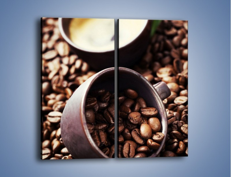 Obraz na płótnie – Kawa na rozsypanych ziarnach – dwuczęściowy prostokątny pionowy JN389