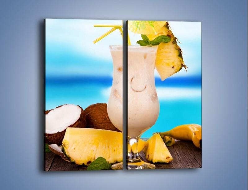 Obraz na płótnie – Kokosowy drink z ananasem – dwuczęściowy prostokątny pionowy JN394