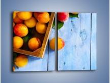 Obraz na płótnie – Brzoskwinie w drewnianej skrzyni – dwuczęściowy prostokątny pionowy JN404