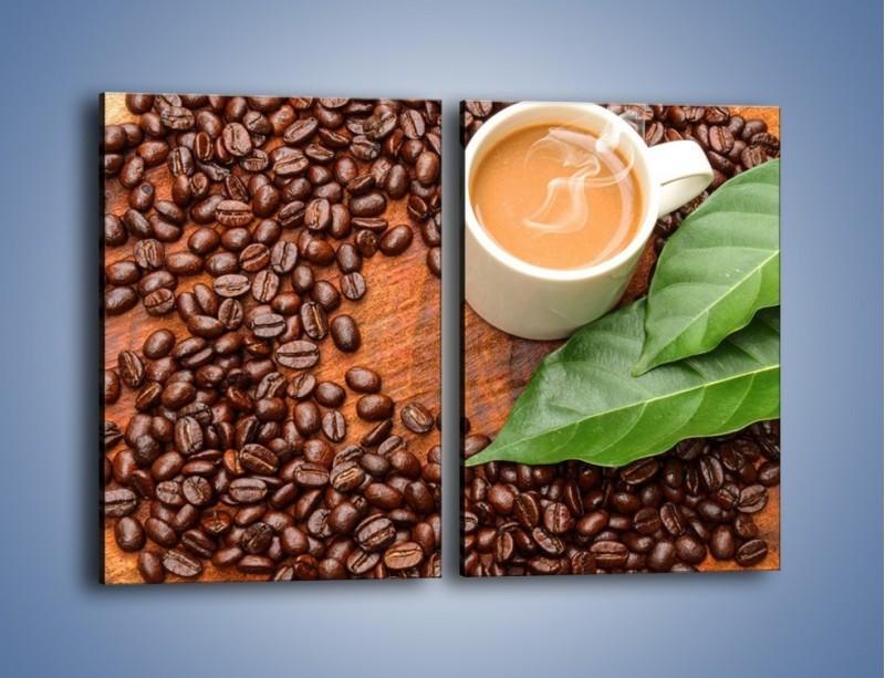 Obraz na płótnie – Ziarna kawy pod liściem – dwuczęściowy prostokątny pionowy JN417