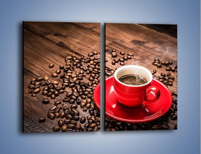 Obraz na płótnie – Kawa w czerwonej filiżance – dwuczęściowy prostokątny pionowy JN441