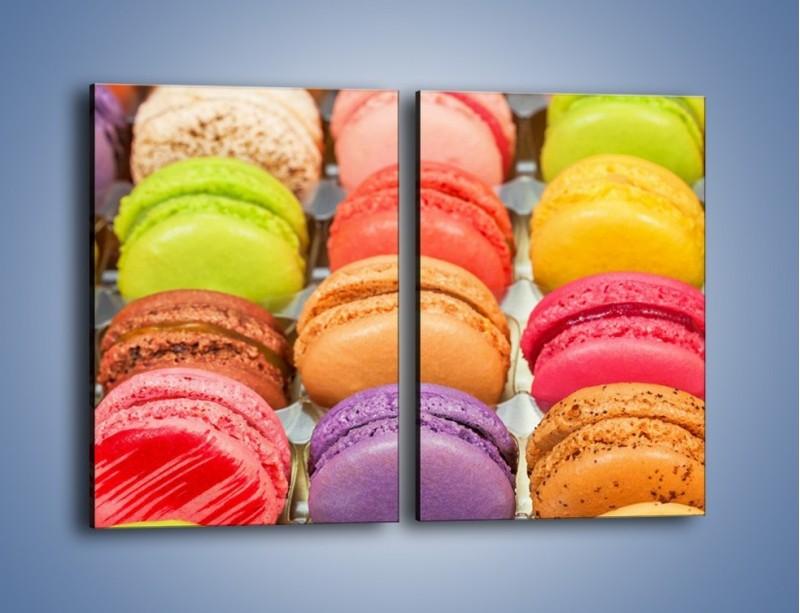 Obraz na płótnie – Słodkie babeczki w kolorach tęczy – dwuczęściowy prostokątny pionowy JN458