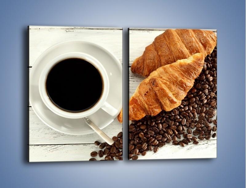 Obraz na płótnie – Kawa na białym stole – dwuczęściowy prostokątny pionowy JN462