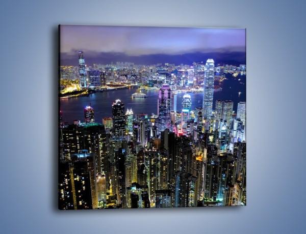 Obraz na płótnie – Nocna panorama Hong Kongu – jednoczęściowy kwadratowy AM772