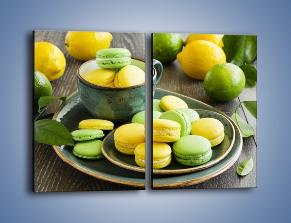 Obraz na płótnie – Cytrynowo-limonkowe ciasteczka – dwuczęściowy prostokątny pionowy JN724