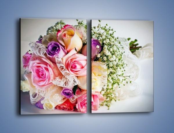Obraz na płótnie – Wiązanka ślubna z róż – dwuczęściowy prostokątny pionowy K022