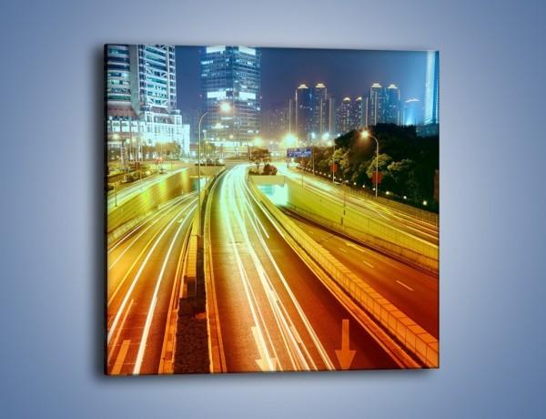 Obraz na płótnie – Światła ruchu ulicznego w Szanghaju – jednoczęściowy kwadratowy AM779