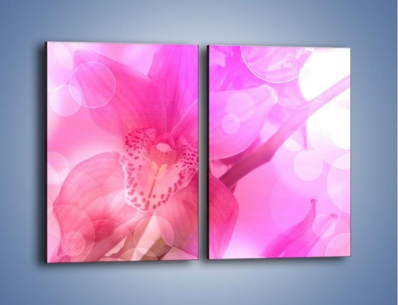 Obraz na płótnie – Budzący dzień w różowym kwiecie – dwuczęściowy prostokątny pionowy K487