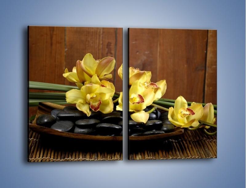 Obraz na płótnie – Kwiaty na drewnianym naczyniu – dwuczęściowy prostokątny pionowy K575