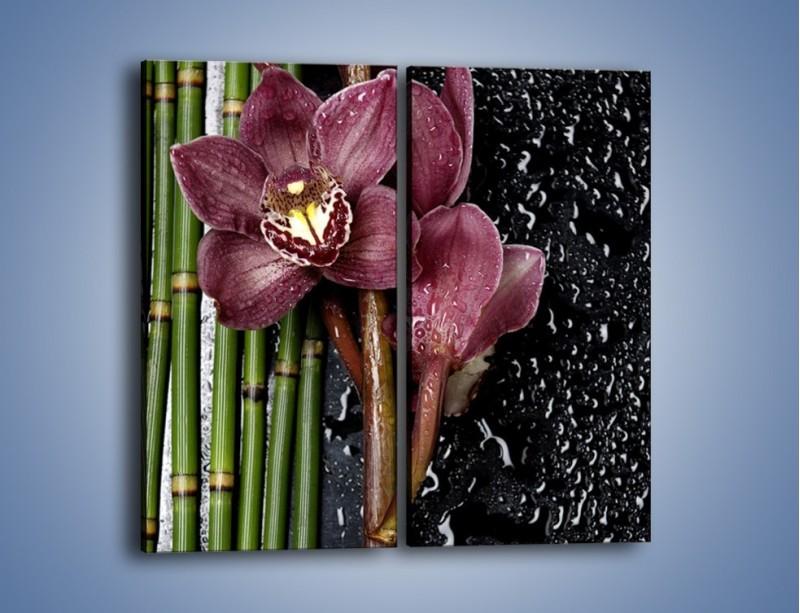 Obraz na płótnie – Bordo kwiata wśród bambusów – dwuczęściowy prostokątny pionowy K576