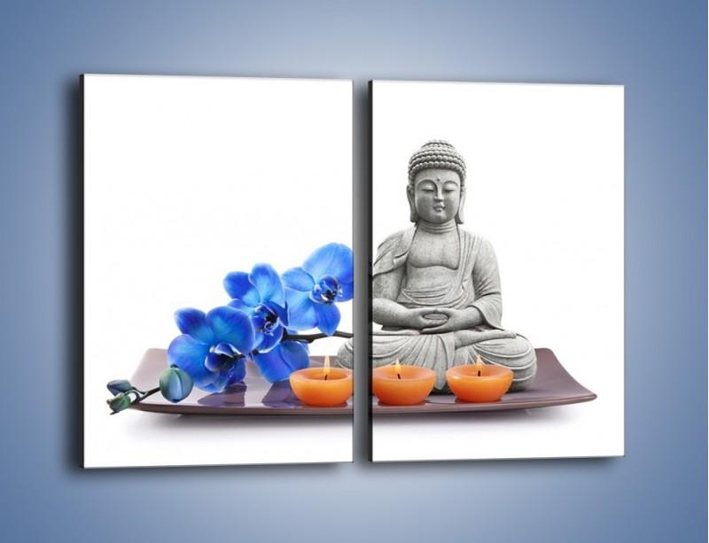 Obraz na płótnie – Budda i kwiat – dwuczęściowy prostokątny pionowy K593