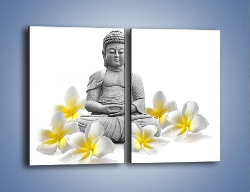 Obraz na płótnie – Budda w białych kwiatach – dwuczęściowy prostokątny pionowy K599