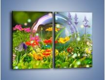 Obraz na płótnie – Bańkowy świat kwiatów – dwuczęściowy prostokątny pionowy K691