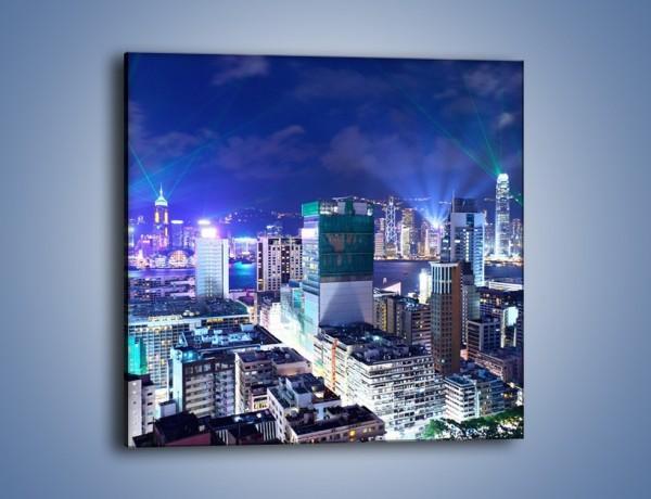 Obraz na płótnie – Pokaz laserów nad Hong Kongiem – jednoczęściowy kwadratowy AM796