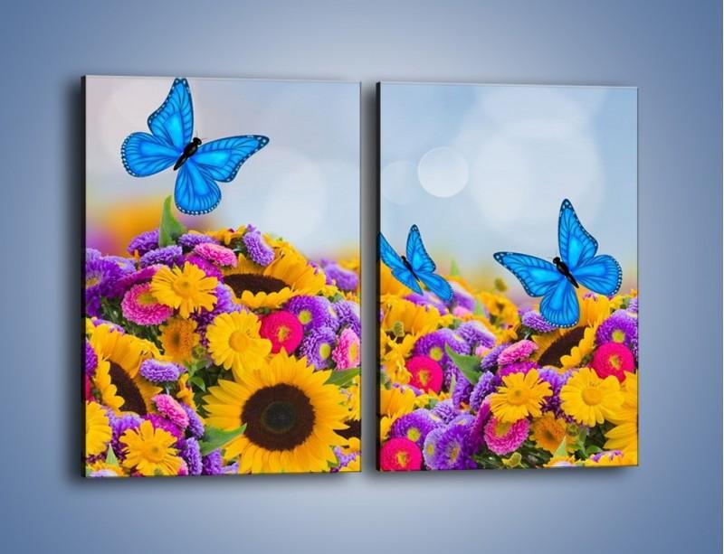 Obraz na płótnie – Bajka o kwiatach i motylach – dwuczęściowy prostokątny pionowy K794