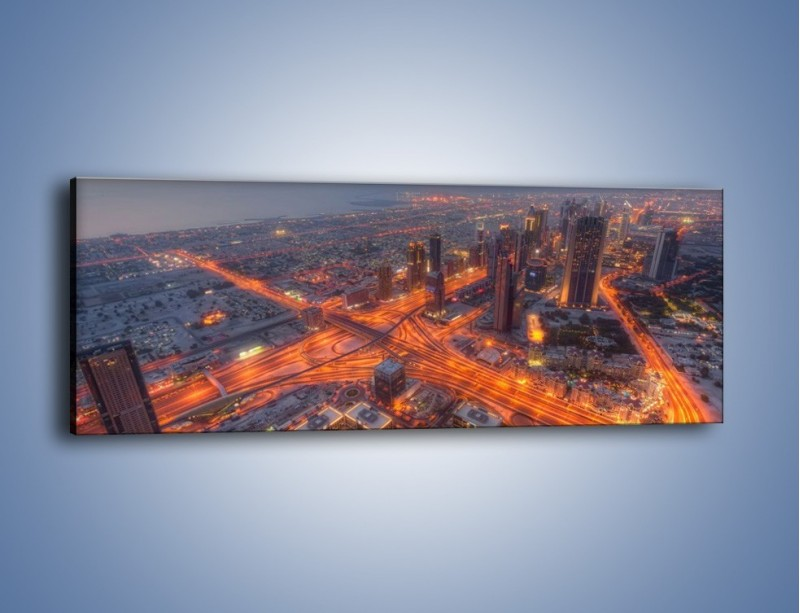 Obraz na płótnie – Panorama Dubaju o poranku – jednoczęściowy panoramiczny AM538